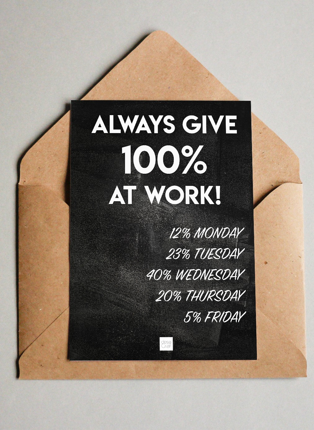 Image of   Always give 100% at work - Postkort