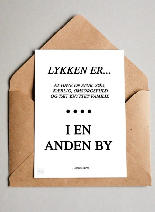 George Burns Citat ''Lykken er..''